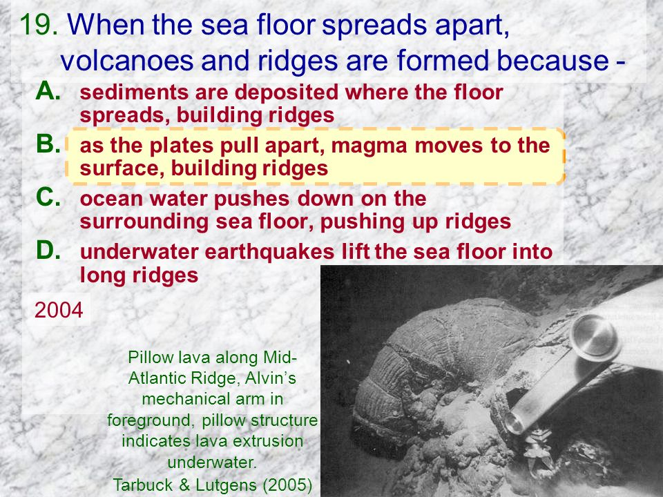 19. When the sea floor spreads apart, volcanoes and ridges are formed because -