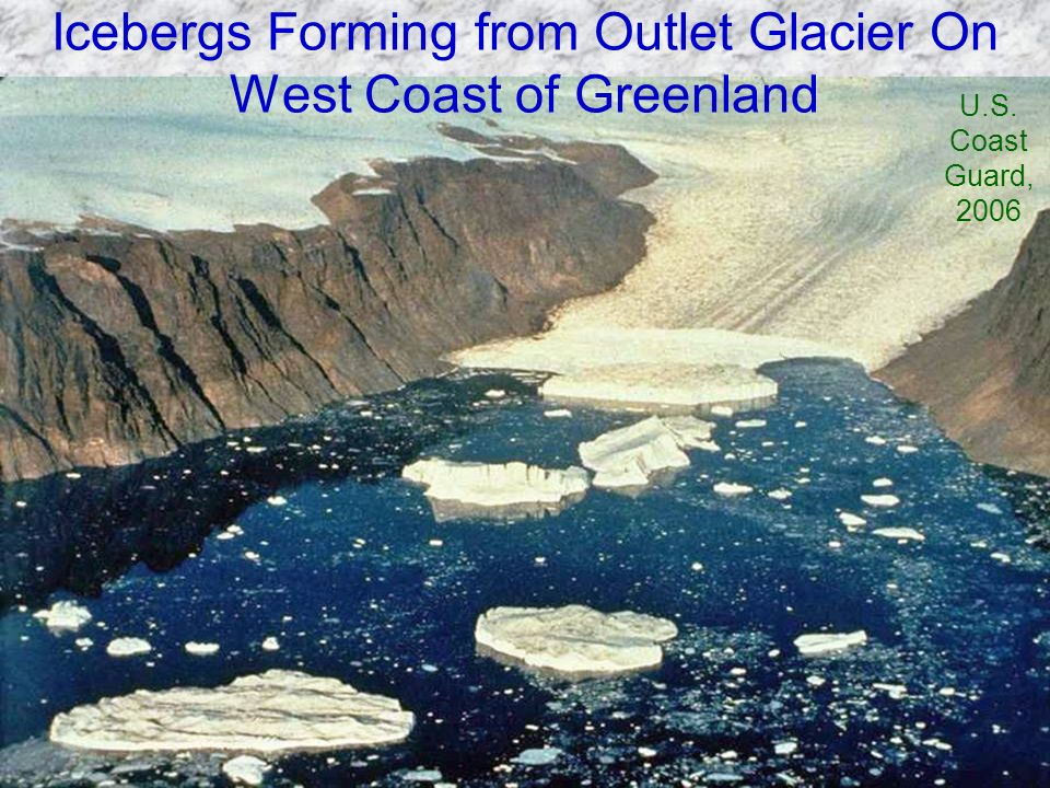 Icebergs Forming from Outlet Glacier On West Coast of Greenland