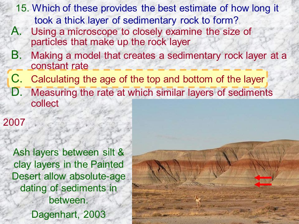 15. Which of these provides the best estimate of how long it took a thick layer of sedimentary rock to form