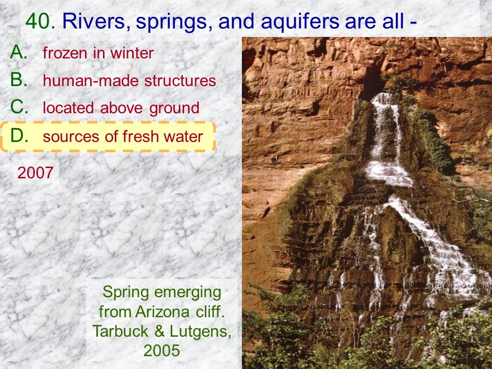 40. Rivers, springs, and aquifers are all -