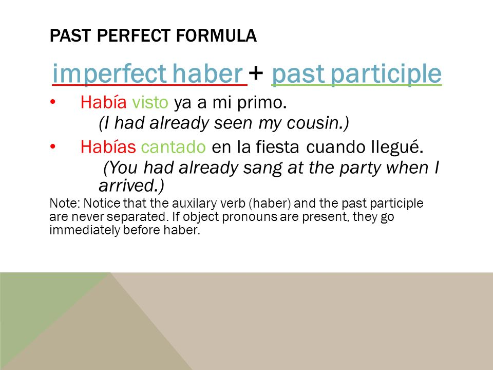 imperfect haber + past participle