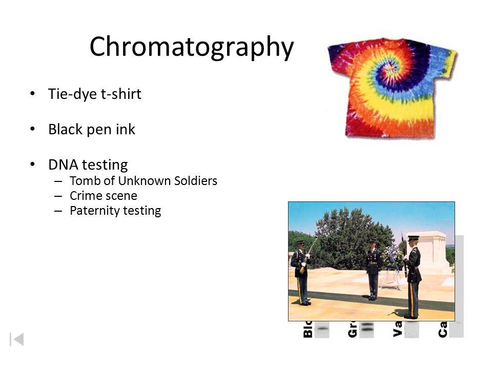 Chromatography Tie-dye t-shirt Black pen ink DNA testing