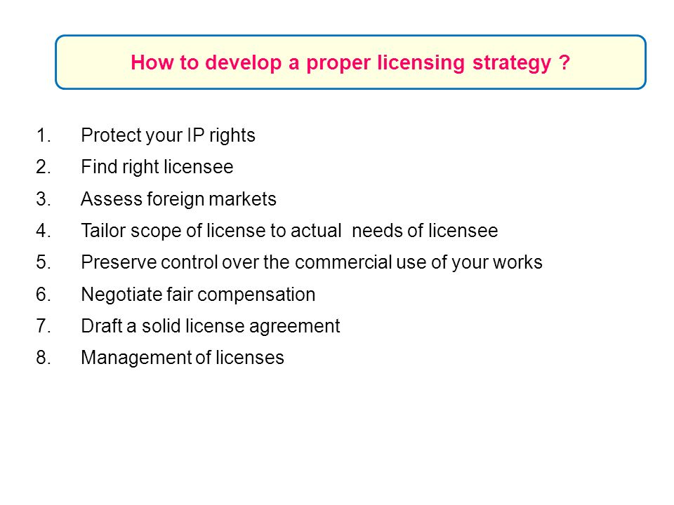 How to develop a proper licensing strategy