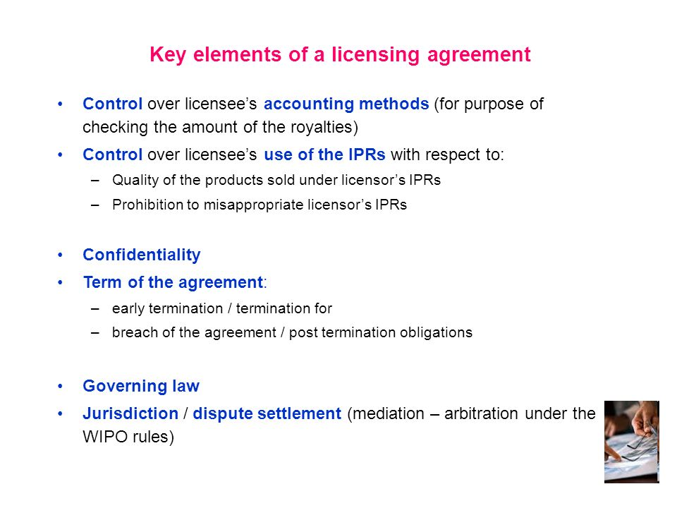 Key elements of a licensing agreement