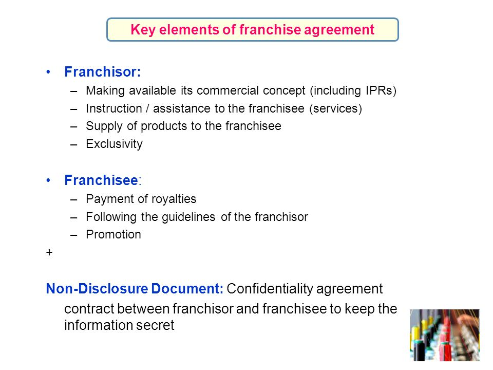 Key elements of franchise agreement