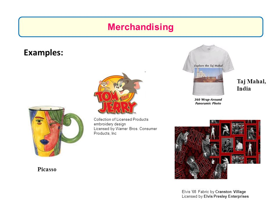 Merchandising Examples: Taj Mahal, India Picasso