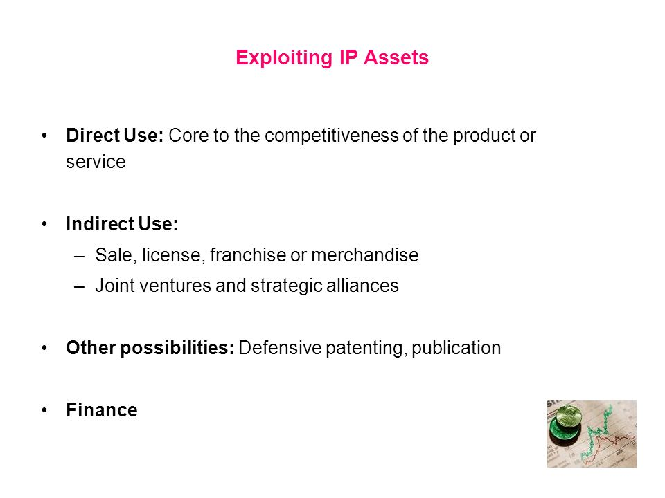 Exploiting IP AssetsDirect Use: Core to the competitiveness of the product or service. Indirect Use:
