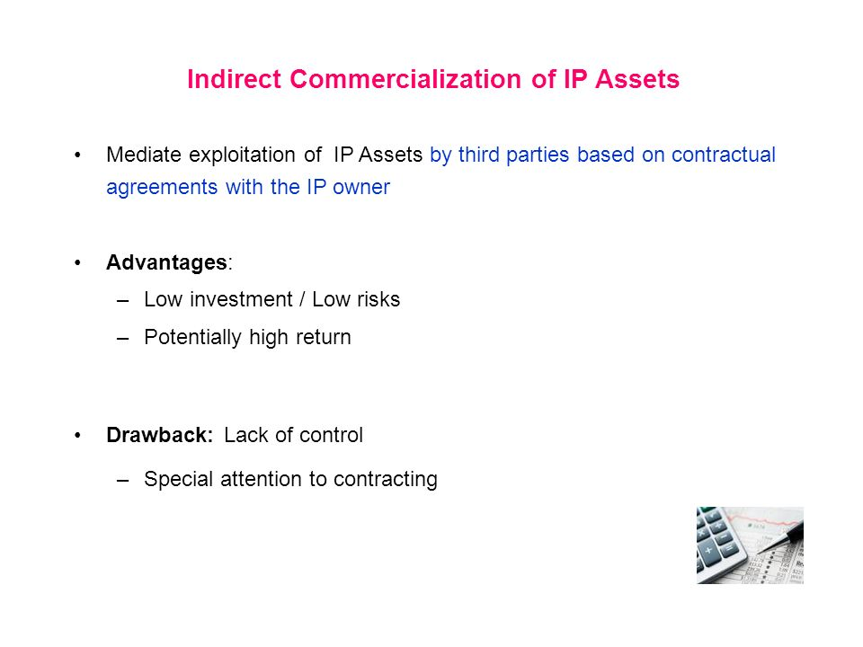 Indirect Commercialization of IP Assets