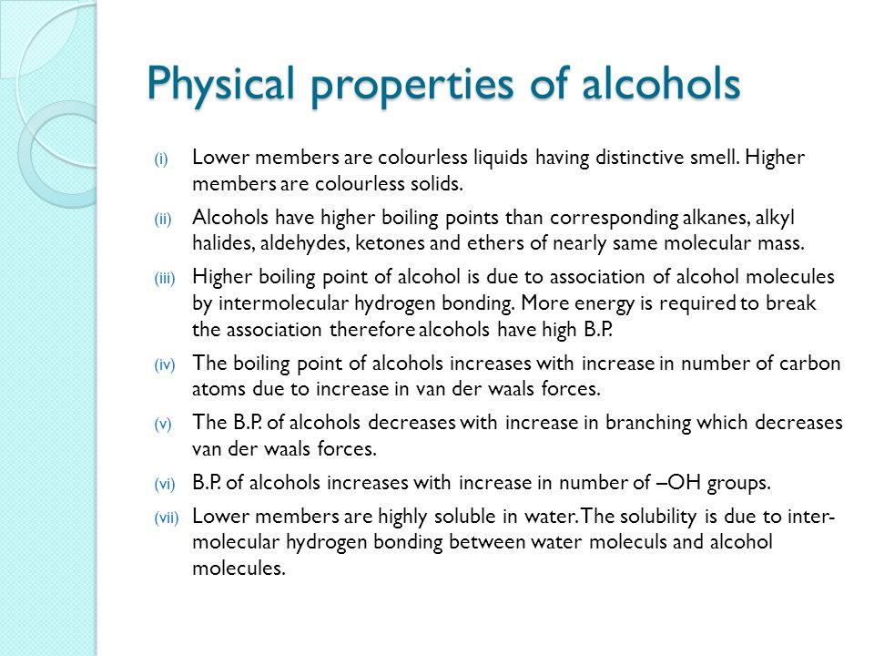 properties of alcohol Properties of alcohols uses of alcohols last updated save as pdf share share share tweet the word alcohol in alcoholic drinks refers to ethanol.