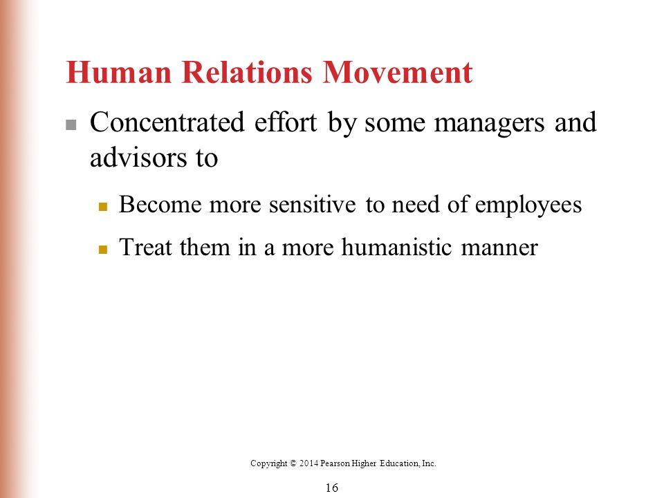 human relations movement Precursors, the hawthorne studies, and the human relations movement • describe contemporary organizational behavior—its charac teristics, concepts, and importance.
