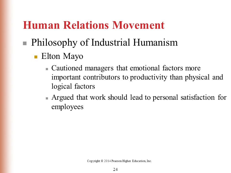 human relations movement Classical management theory and human relations theory represent two views of management on the opposite ends of the spectrum one view focuses on looking at workers solely as a means to get.