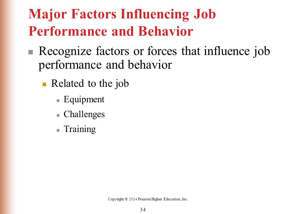 factors inlfuence job performance Performance is associated with quantity of output, quality of output, timeliness of  output, presence or attendance on the job, efficiency of the.