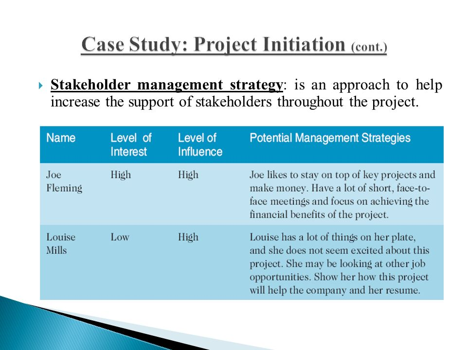 a case study of project and stakeholder management failures Read this article explaining the importance of stakeholder management through of any project or programme this case study is a prime failure to adequately.