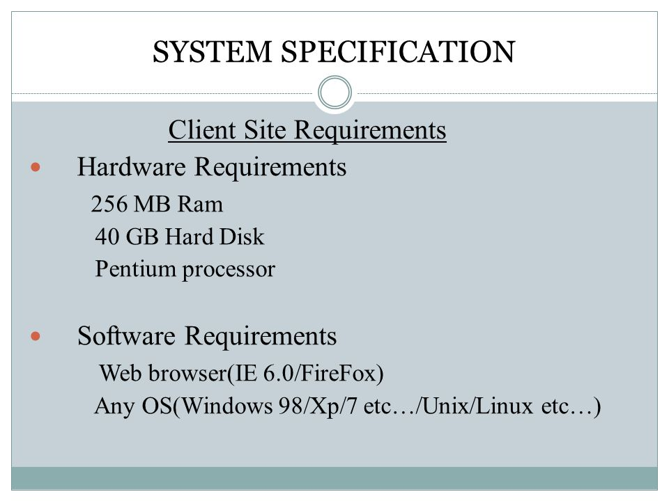 Requirements & Specifications
