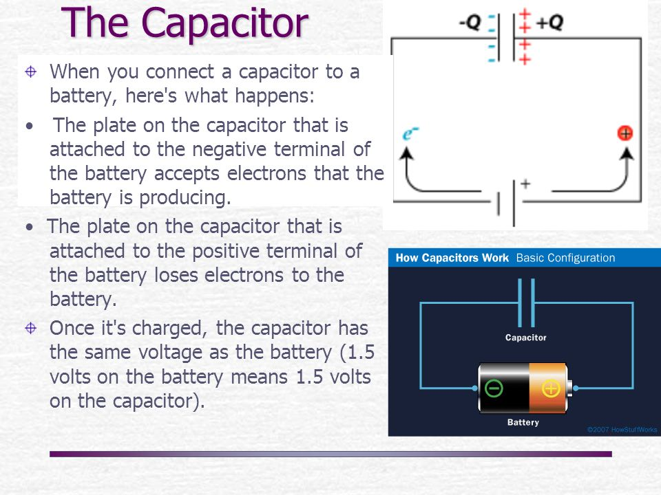 Where how do u hook up a capacitor consider, that