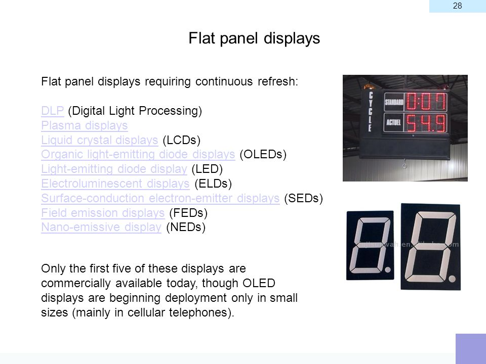 Flat panel displays Flat panel displays requiring continuous refresh: