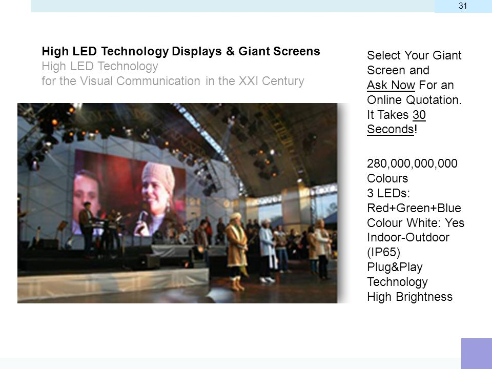 High LED Technology Displays & Giant Screens
