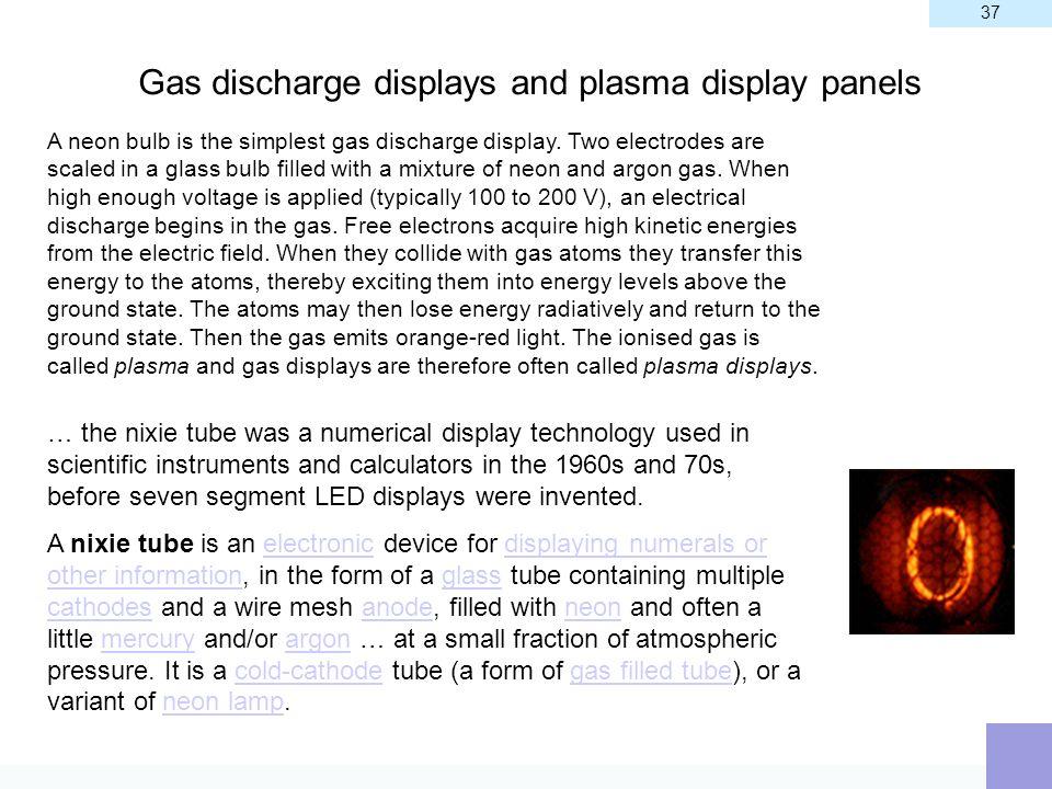 Gas discharge displays and plasma display panels