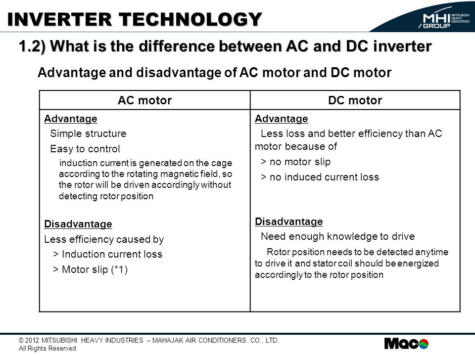 What is difference between dc motor and ac motor for Advantages of ac motor
