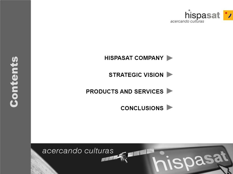 Contents HISPASAT COMPANY STRATEGIC VISION PRODUCTS AND SERVICES