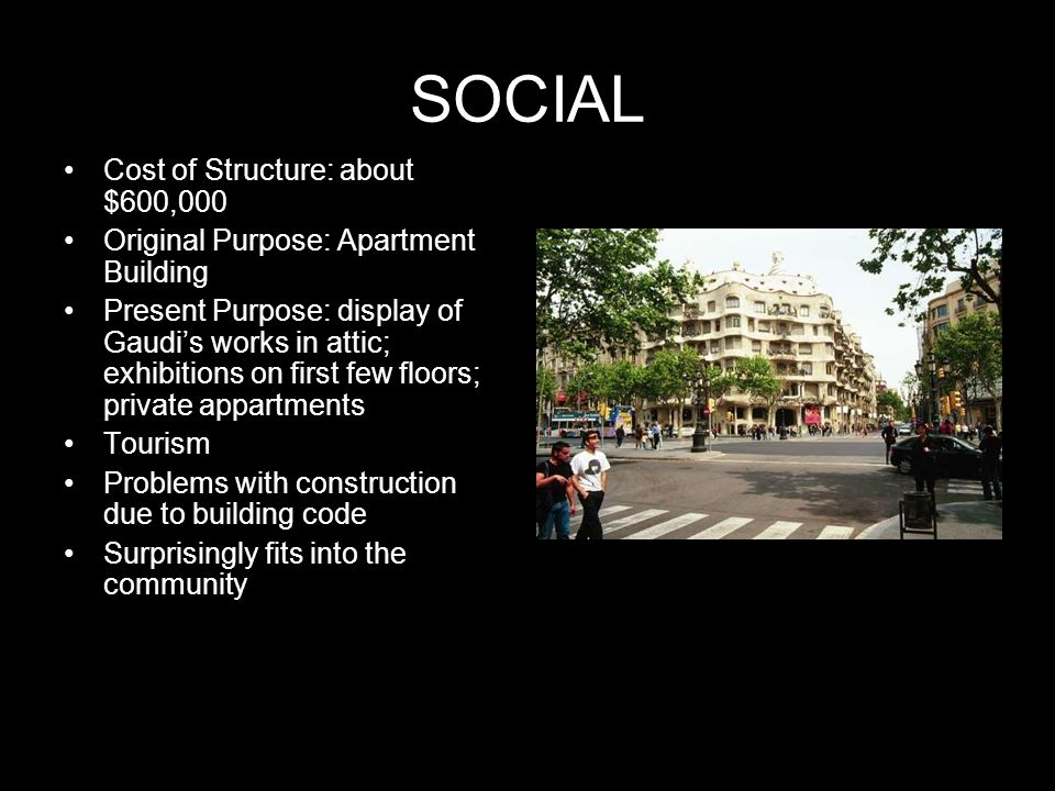 SOCIAL Cost of Structure: about $600,000