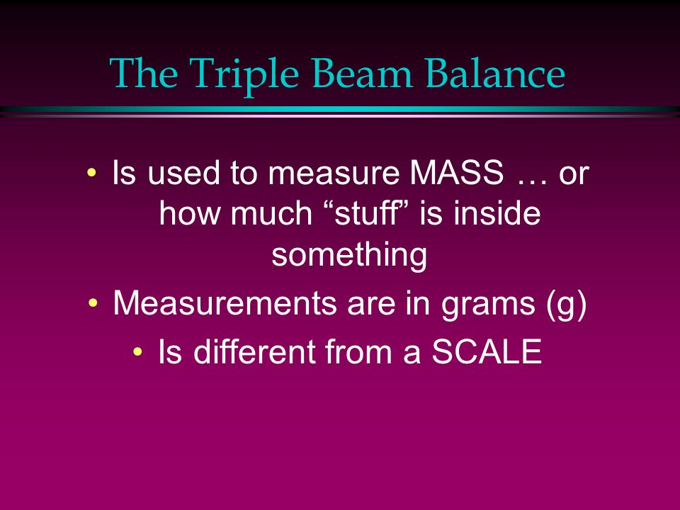 The Triple Beam Balance