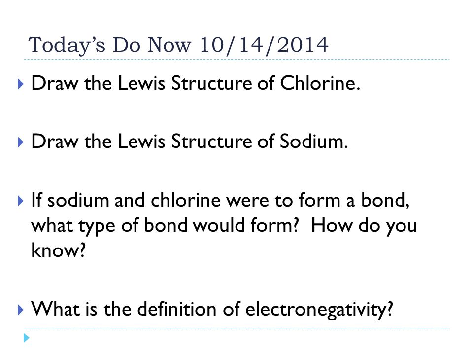 Todays Do Now 10142014 Draw The Lewis Structure Of Chlorine