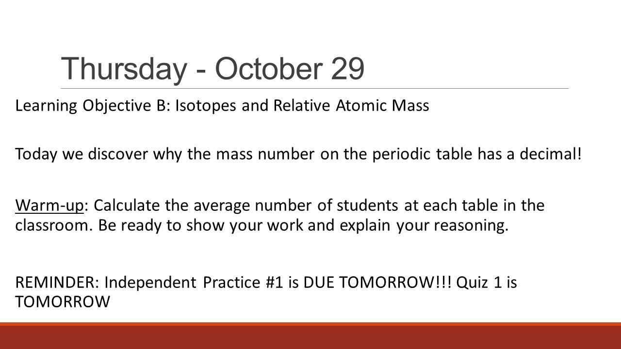 Unit 3 atomic theory periodicity ppt video online download thursday october 29 learning objective b isotopes and relative atomic mass urtaz Image collections