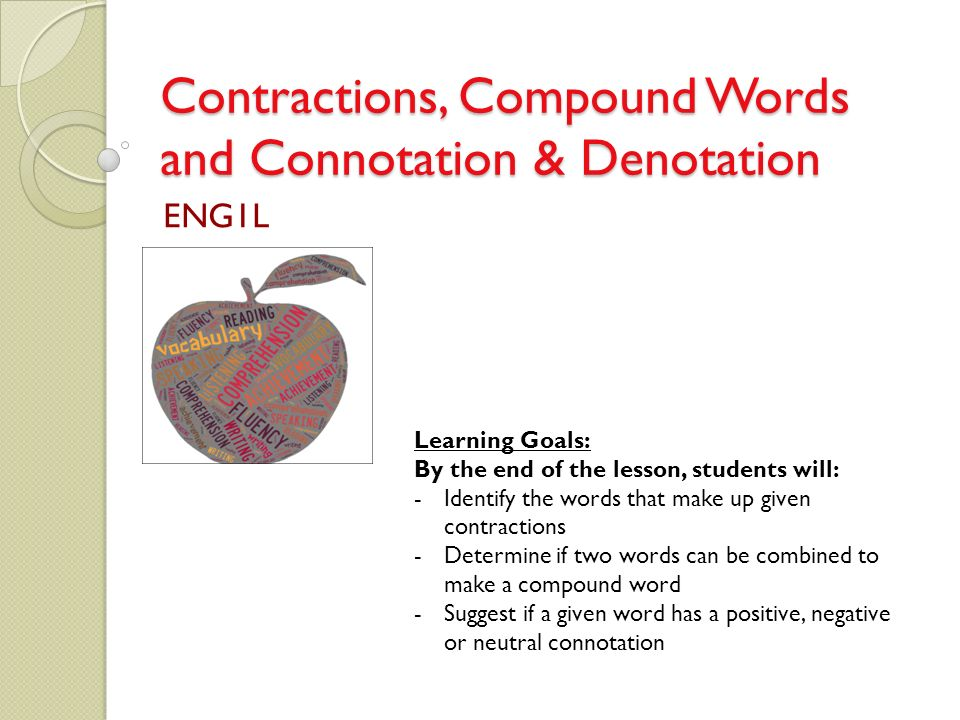 Contractions, Compound Words and Connotation & Denotation ... | 960 x 720 jpeg 78kB