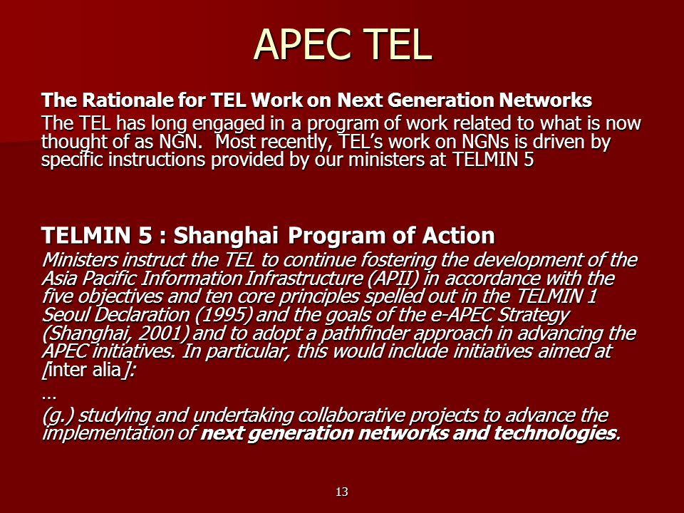 APEC TEL TELMIN 5 : Shanghai Program of Action