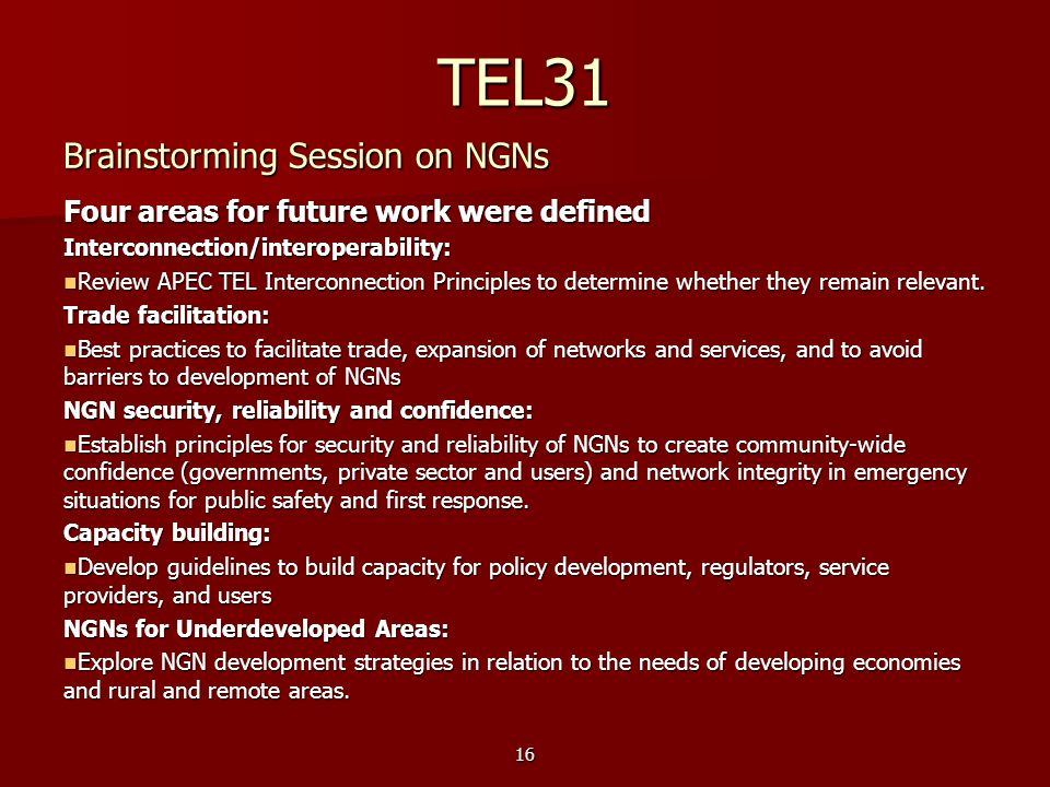 TEL31 Brainstorming Session on NGNs