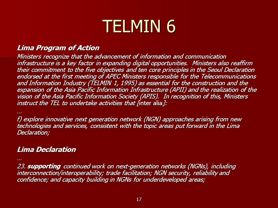 TELMIN 6 Lima Program of Action Lima Declaration