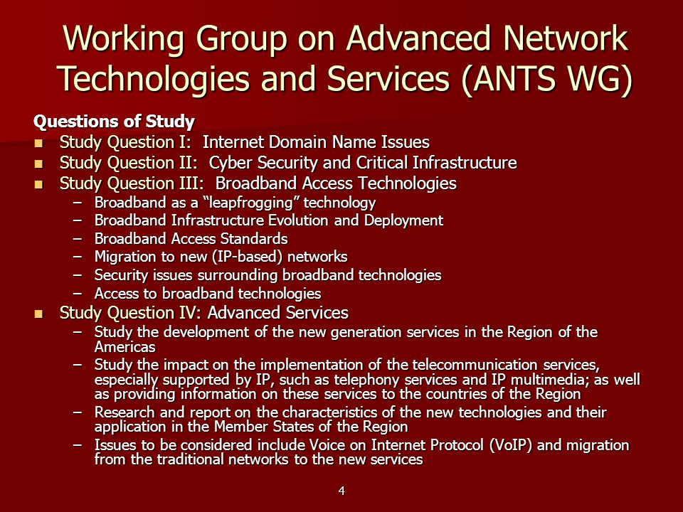Working Group on Advanced Network Technologies and Services (ANTS WG)