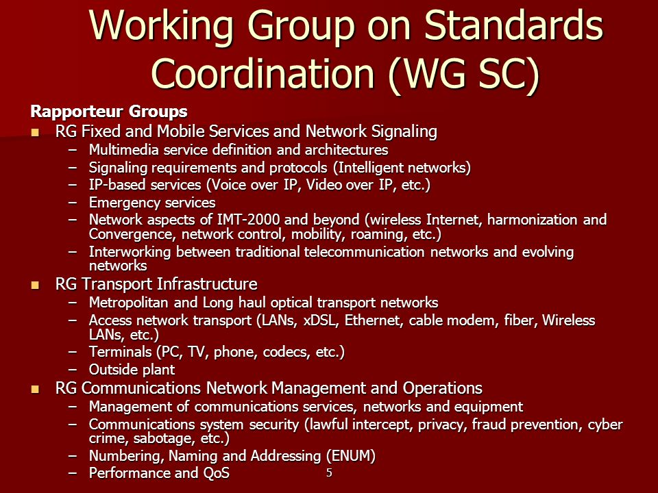Working Group on Standards Coordination (WG SC)