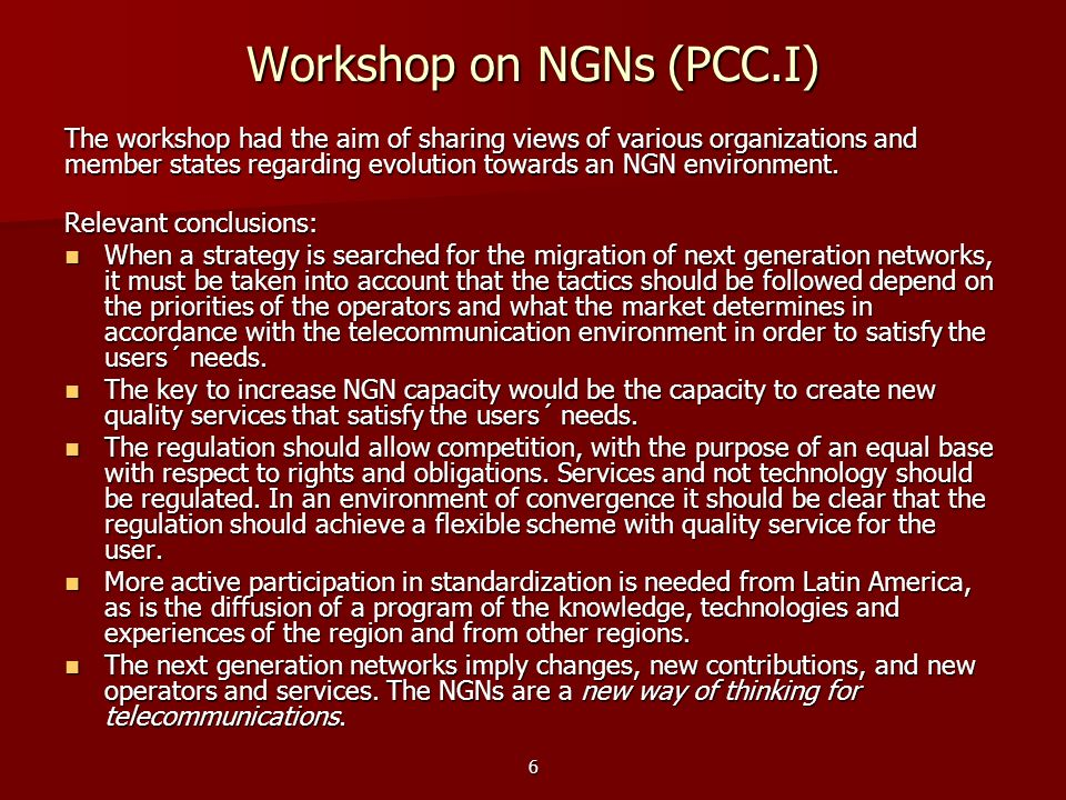 Workshop on NGNs (PCC.I)