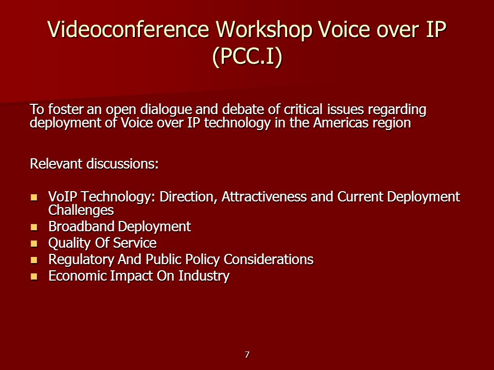 Videoconference Workshop Voice over IP (PCC.I)