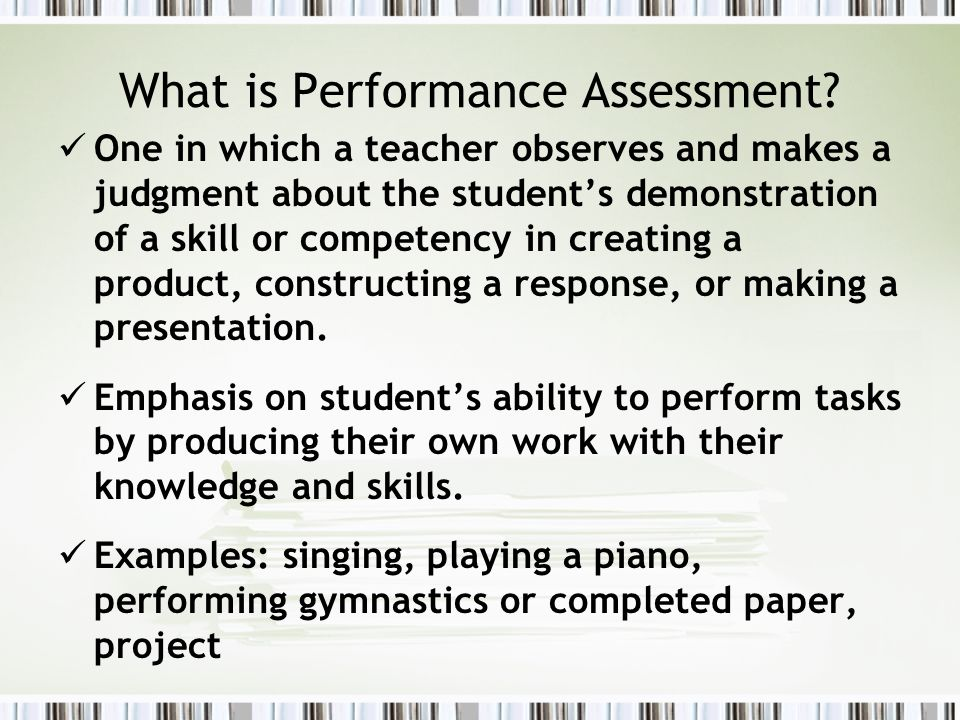 Performance Assessment - Ppt Video Online Download