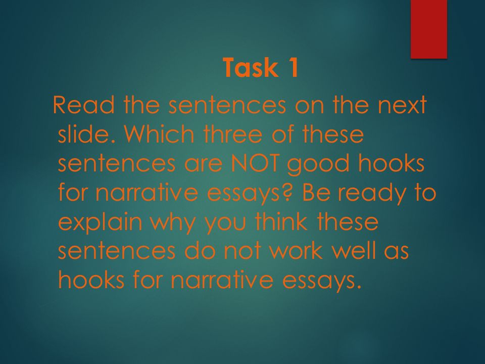 narrative essay ppt video online  7 task 1 the sentences