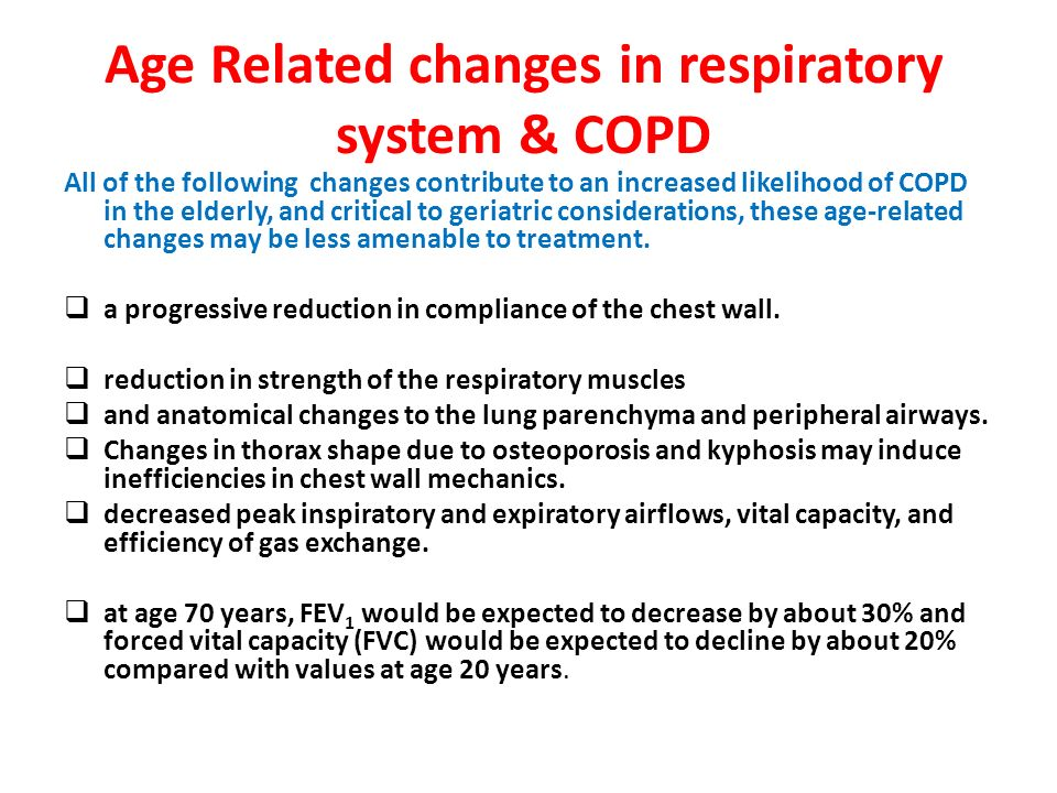 chronic obstructive pulmonary disease copd in the elderly There is growing evidence of higher prevalence of chronic obstructive pulmonary disease (copd) in the elderly age-associated changes in the structure and function of the lung may increase a pathogenetic susceptibility to copd.