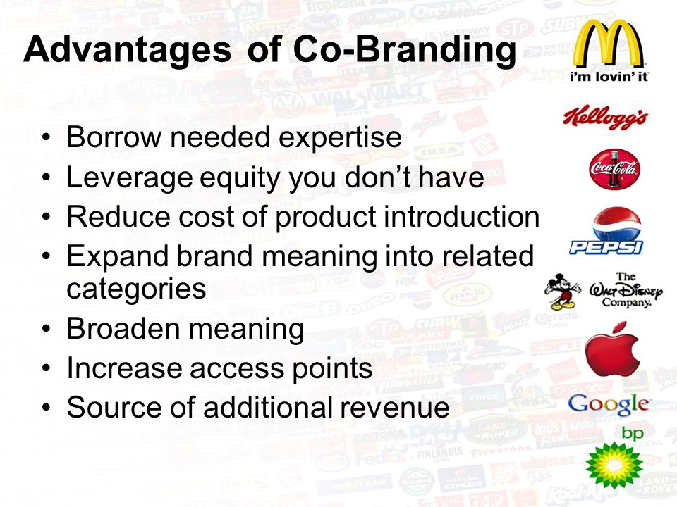 co branding advantages and disadvantages Also known as a brand partnership, cobranding (or co-branding) to a better-known company and brand cobranding can see advantages of each cobranding.