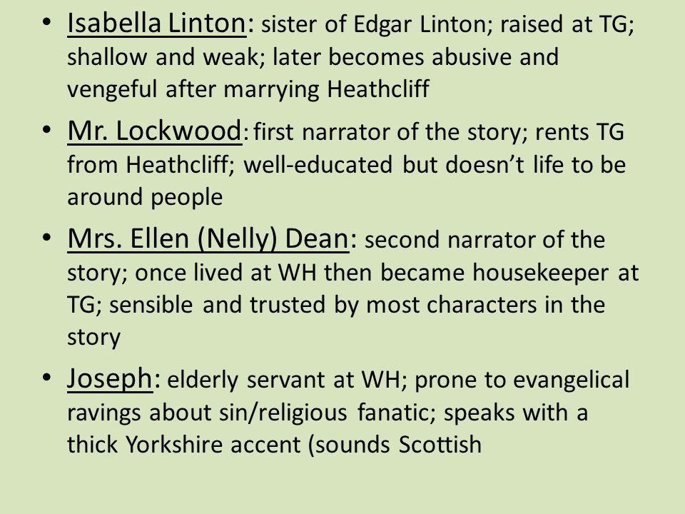 wuthering heights by emily bronte ppt video online  isabella linton sister of edgar linton raised at tg shallow and weak