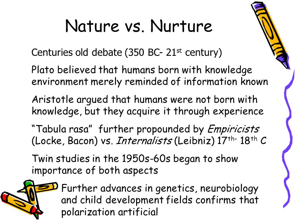 nature and nurture influences on child essay Nurture: the debate over the importance of nature verses the importance of  nurture has  so despite the obvious influence an innate ability has on a child's.
