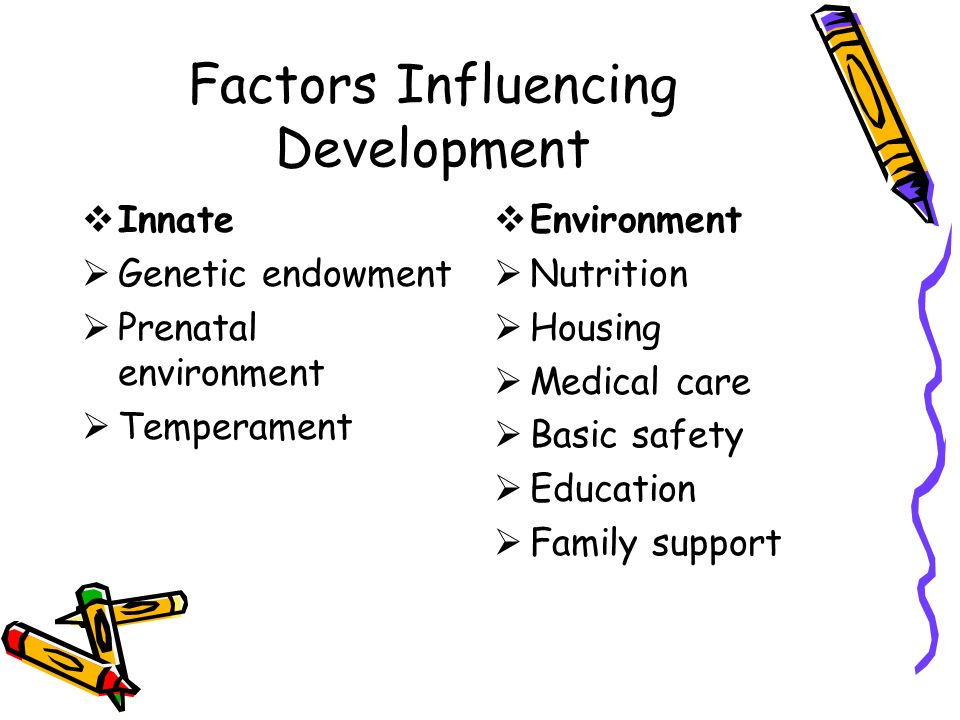 inherited and environmental influences on development Shared environmental influences are responsible for stability as well as change in the development of cognitive abilities, represented by a common factor influencing fsiq at all ages and age-specific influences, respectively.