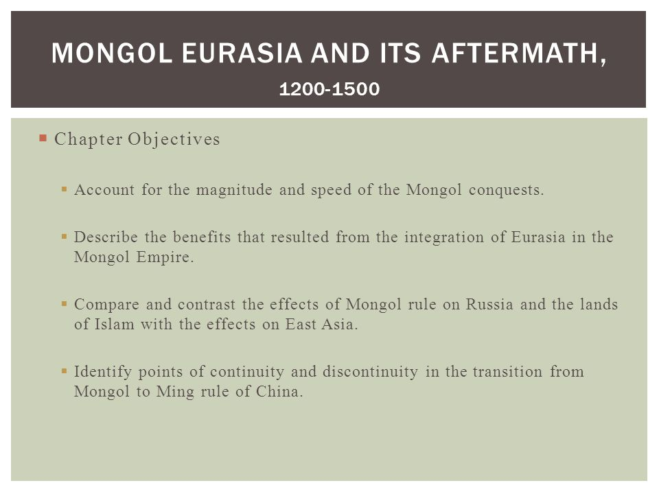 what accounts for the magnitude and speed of the mongol conquests The mongol conquest of khwarezmia from 1219 to 1221 marked the beginning of the mongol conquest of the islamic states the mongol expansion would ultimately culminate in the conquest of virtually all of asia (as well as parts of eastern europe) save for japan, the mamluk sultanate of egypt, siberia, and most of the indian subcontinent and southeast asia.