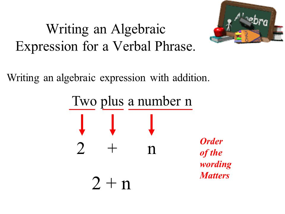 write a verbal expression for each algebraic expression Best answer: uhhh i have to learn learn the same thing i just started school i understand some of lets see im not sure of the ones above but i kno that the first is.