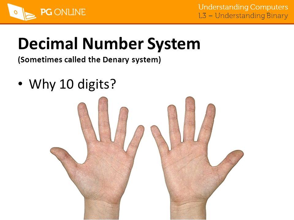 Decimal Number System (Sometimes called the Denary system)