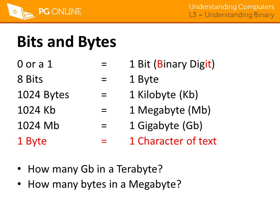 Bits and Bytes 0 or a 1 = 1 Bit (Binary Digit) 8 Bits = 1 Byte
