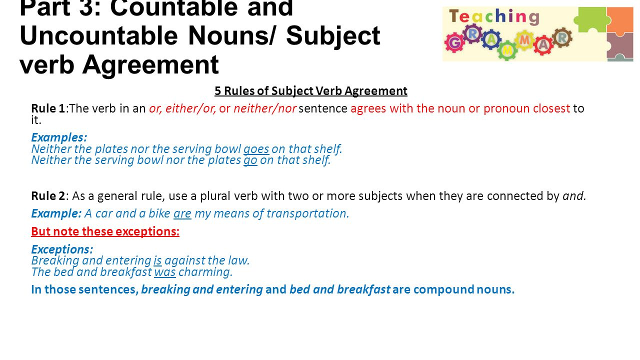Grammar rules pun intended ppt video online download part 3 countable and uncountable nouns subject verb agreement platinumwayz