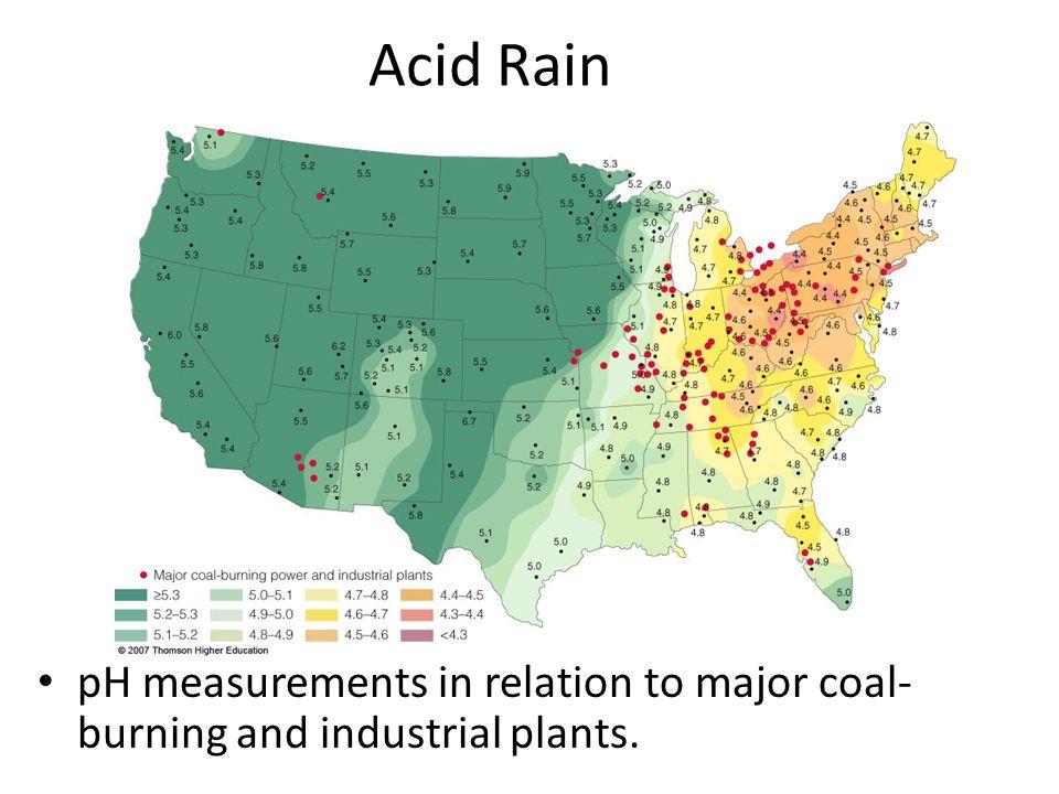 7 acid rain ph measurements in relation to major coal burning and industrial plants
