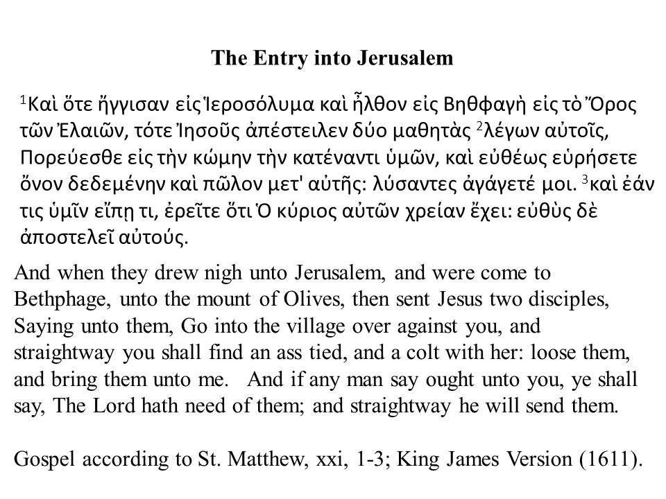 The Entry into Jerusalem